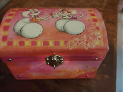 Vintage DEPESCHE Germany Mirror Jewelry Box Cute Mice Design