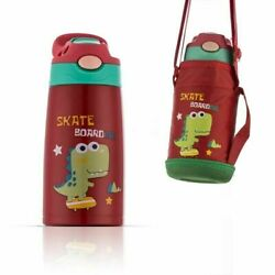Stainless Steel Water Bottle for Kids with Straw Dinosaur Vacuum Insulated 13Oz