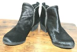 Lucky Brand 10 Bartalino Double Zipper Cow Fur Black Boots  Eur 40 EUC