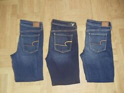 American Eagle Super Stretch Distressed Skinny Jeans 3 pairs Women's sz 10 short