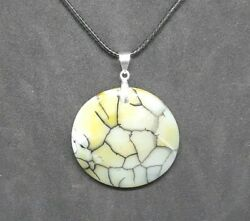Yellow And Black Dragon Veins Agate Round Pendant Necklace