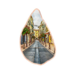 Color Printing oil painting Agate Gemstone Pendant Necklace H1908 0048