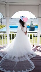wedding dresses luxury long sleeves ball gown crystals with train petticoat lace