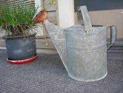 Old Vintage Galvanized Tin Metal Rusty Spout Watering Pail Sprinkling Can Bucket