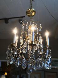 Mid Century Solid Brass Crystal Marie Therese Style French Chandelier 1950s 60s $1200.00