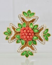French 18 Karat Enamel Pearl Coral Maltese Cross Flower Brooch Pendant