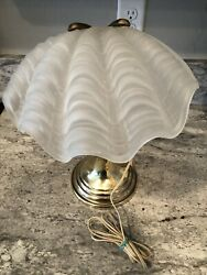 Vintage Brass And Clam Shell Shade Desk Lamp