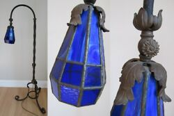 STAINED GLASS FLOOR LAMP antique COBALT BLUE adjustable arts crafts CAST IRON $934.89