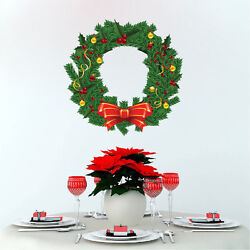 Christmas Wreath Wall Decal Winter Christmas Gift Window Wall Decorations h90 $16.95