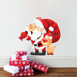Santa Claus And Rudolph Wall Decal Winter Christmas Window Wall Decorations h88 $11.95