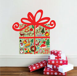Wrapped Present Wall Decal Winter Christmas Gift Window Or Wall Decorations h89 $11.95