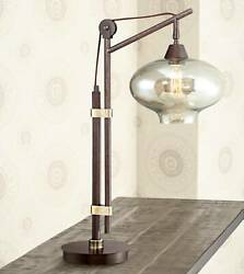 Industrial Desk Lamp Antique Bronze Glass Shade Edison Style for Office Table