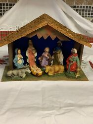 "Made in Italy Vintage 9pc. Nativity Set in wooden creche 11"" X 8"" X 4.5"""