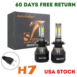 Pair H7 1800W 220000LM LED Headlight Bulbs Kit High or Low Beam CREE 4Side 6000K