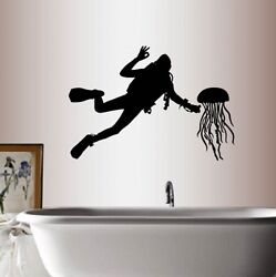 Vinyl Decal Scuba Diver Jellyfish Man Guy Extreme Sports Hobby Wall Sticker 291 $27.99