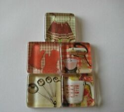 So Fun So Kitchen Themed Square Glass Magnets Set of 5 $6.95