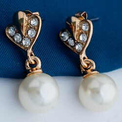 Clear Round Rhinestone Rose Gold Plated Lady Girl Pearl Drop Earrings Jewelry