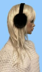 NEW GENUINE BLACK RANCH MINK FUR EARMUFFS one fits all LOOKS GREAT WITH ANY COAT $35.95