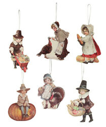 Bethany Lowe Thanksgiving Pilgrim Child Turkey Pumpkin Harvest Ornament Set6