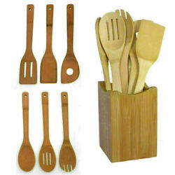 6 pcsset Bamboo Kitchen Utensil Wooden Cooking Tool Spoon Spatula Mixing Kit