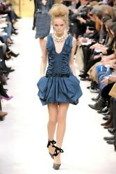 LOUIS VUITTON £3150 Blue bubble mini dress runway AW 2009 - MET GALA - UK 6