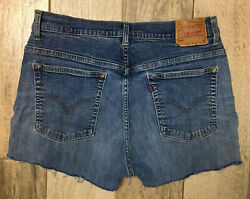 Levis 505 Womens Cut Off Stretch Jean Shorts Sz 12 Med Wash Blue Denim Mid Rise $22.74