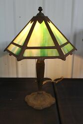 ANTIQUE SLAG GLASS TABLE LAMP 6 SIDES NICE GLASS COLOR MEDIUM SIZE ART NOUVEAU $475.00