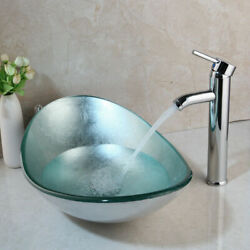 Bathroom Mixer Chrome Faucet Silver Oval Tempered Glass Basin Vessel Sink Drain $99.00
