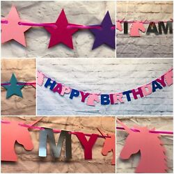 PERSONALISED HAPPY BIRTHDAY UNICORN PARTY BANNER Girls decorations bunting decor GBP 4.99