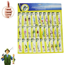30pcs Trout Spoon Steel Metal Fishing Lures Spinner Baits Bass Tackle Colorful $14.67