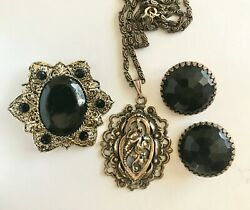 Antique Goldtone Pendant Necklace Clip Earrings and Brooch Pin