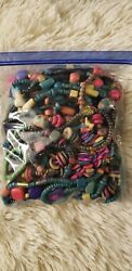 Wooden crafting beads (1 pound) multi color