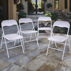 4 PCS Commercial Wedding Stackable Plastic Folding Party Chairs White
