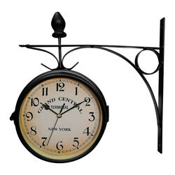 Antique Wall Mount Clock Garden Hallway Outdoor Station Double Side with Bracket $13.99