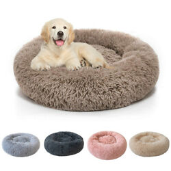 Donut Plush Pet Dog Cat Bed Fluffy Soft Warm Calming Bed Sleeping Kennel Nest $12.98