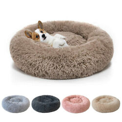 Donut Plush Pet Dog Cat Bed Fluffy Soft Warm Calming Bed Sleeping Kennel Nest $17.98