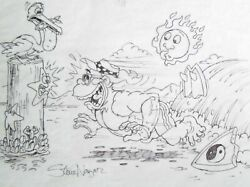 Steve Nazar Thrilla Gorilla drawing T&C surf Town and Country signed sketch 80s