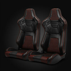 Universal Pairs JDM Black Red Stitching PVC Leather Racing Bucket Seats $303.95