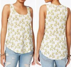 Lucky Brand Womens White Yellow Bananas Print Tank Top Large Cotton  $40