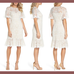 NEW $328 Tadashi Shoji Mirabelle Embroidered Dress in WhiteNude [SZ 12 ] #G528