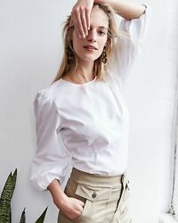 NWT J Crew Sz 6 White Puff Sleeve Top Poplin Cotton Blouse Collarless $107 NEW