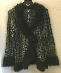 Dress Barn Black White Cable Knit Sweater Cardigan Faux Fur Trim Size 2X New