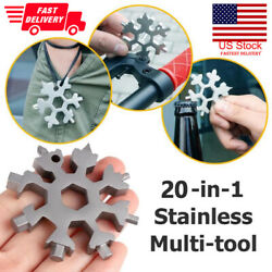20 in1 snowflake multi pocket tool spanner hex wrench multifunction camp survive