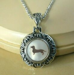 dachshund dog snap button silver ornate pendant Necklace gift jewelry women $18.00
