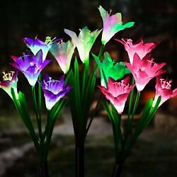 Outdoor Solar Power Garden Stake Lights Lily Rose LED Flower Lights Waterproof