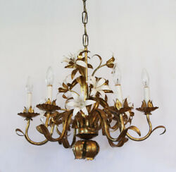 Italian Tole Chandelier Antique Made in Italy White Lily amp; Gilt Gold $845.00