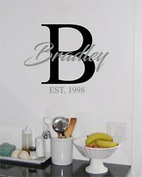 Family Name amp; Initial amp; Date Monogram Fancy Wall Sticker Vinyl Decals Lettering $14.99
