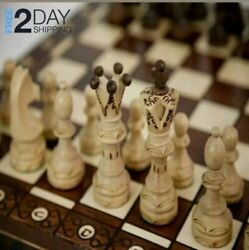 Large Wooden Chess 16 Inch Full Set Vintage Game Gifts Hand Carved Board Pieces