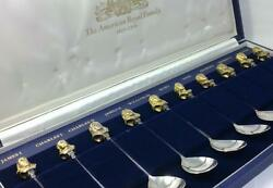 10 hallmarked Sterling Silver  & Gilt American Royal Family Spoons in case-1975
