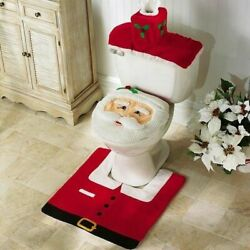 Merry Christmas Toilet Seat & Cover Santa Claus Bathroom Mat Christmas Home Deco $6.99